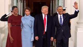 Obamas welcome Trumps to White House
