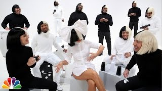 "getlinkyoutube.com-Jimmy Fallon, Sia, Natalie Portman & The Roots Sing ""Iko Iko"""