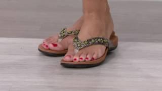 getlinkyoutube.com-Vionic w/ Orthaheel Embellished Thong Sandals - Floriana on QVC