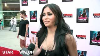 "getlinkyoutube.com-Michelle Maylene red carpet interview at ""Femme Fatales"" season 2 premiere screening"