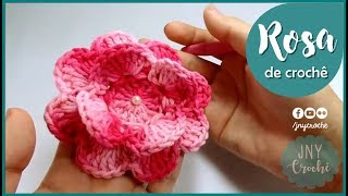 getlinkyoutube.com-Passo a Passo de Crochê Flor Rosa por JNY Crochê