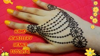 How to apply beautiful jewellery ornamental henna mehndi designs for hands tutorial eid 2017