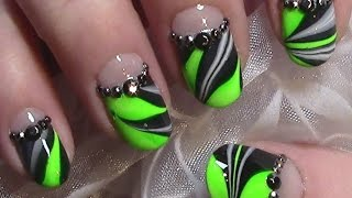 getlinkyoutube.com-Neon Grün Water Marble Nageldesign / Nail Art Design Tutorial