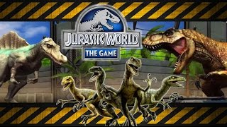 getlinkyoutube.com-Jurassic World The Game - T-Rex, Spinosaurus & Velociraptor