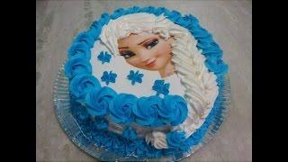 getlinkyoutube.com-Bolo Elsa (Frozen), com trança de chantilly e papel arroz.