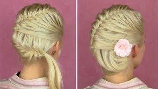 getlinkyoutube.com-French fishtail braid tutorial Prom seashell updo for medium long hair Seitlich flecht frisur