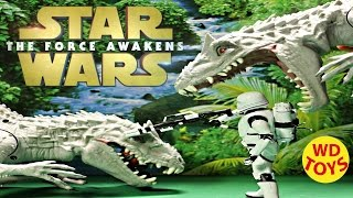 getlinkyoutube.com-Star Wars Flametrooper Elite Vs 2 Indominus Rex Jurassic World   Force Awakens WD Toys