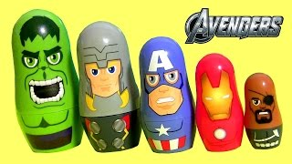 getlinkyoutube.com-The Avengers Stacking Cups Surprise Baby Toys Disney Captain America, Hulk, Iron Man Marvel Nesting