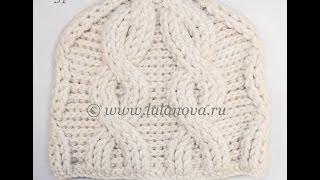getlinkyoutube.com-Рельефная шапка с косами - 5 часть - форма колпачек - Crochet hat with braids