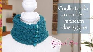 getlinkyoutube.com-Cuello tejido a crochet que parece tejido en dos agujas con lana muy gruesa :)