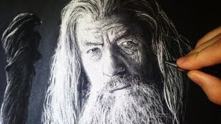 getlinkyoutube.com-Gandalf - Drawing with White Charcoal Portrait