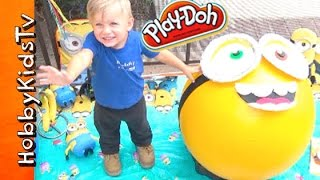 getlinkyoutube.com-Mega GIANT Play-Doh Minion Bob Surprise Egg Head! Toys Candy Pool Party + Shrinking HobbyKids