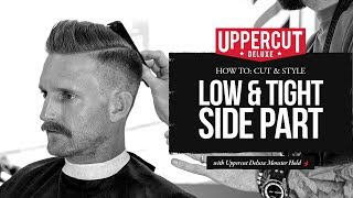 getlinkyoutube.com-How to Cut & Style a Low & Tight Side Part X Uppercut Deluxe Monster Hold