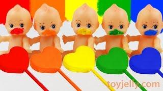 getlinkyoutube.com-Learn Colors Play Doh Clay Heart Popsicle Ice Cream Paint Baby Doll Finger Family Song Nursery Rhyme