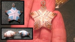 getlinkyoutube.com-Beading4perfectionists : Beaded 3D Christmas star ornament or pendant beading tutorial