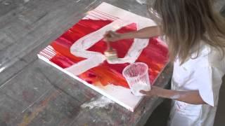 getlinkyoutube.com-Acrylic painting abstract - Fliessen lassen mit Glas