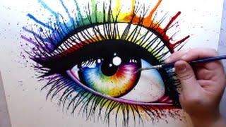 getlinkyoutube.com-RAINBOW EYE - Mixed Media Speed Paint