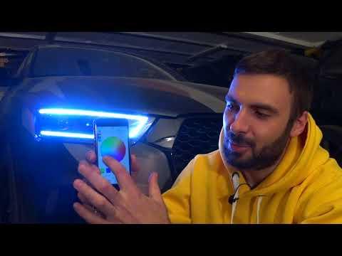 Тюнинг фар Audi Q3 многоцветная светодиодная подсветка