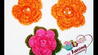 getlinkyoutube.com-كروشيه ورده الطبقات ب3 اشكال مختلفه - خيط وابره - Crochet Layered Flower with 3 different formats