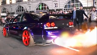 getlinkyoutube.com-Kream Developments Nissan Skyline GTR - Burnouts, Flames and LAUNCH!