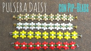 getlinkyoutube.com-Como hacer una Pulsera Daisy con Pip Beads - Ideas con Abalorios