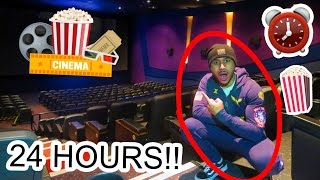 OVERNIGHT IN A MOVIE THEATRE CINEMA!! ⏰ 🍿 🎥  24 HOUR FORT CHALLENGE