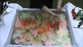 getlinkyoutube.com-Oil Colour over Marbling on Canvas