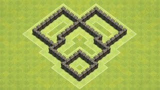 getlinkyoutube.com-Clash of Clans Town Hall 4 Defense (CoC TH4) BEST Trophy Base Layout Defense Strategy