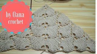 getlinkyoutube.com-Crochet Leaf stitch triangle scarf /shawl- by Oana
