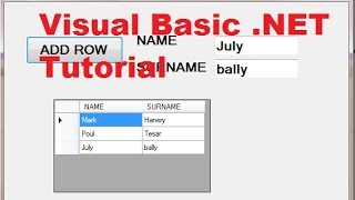 Visual Basic .NET Tutorial 44 - How To Use DataGridView (Adding rows) width=