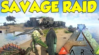 getlinkyoutube.com-Ark Survival Evolved SAVAGE RAID! on Herbivore Island