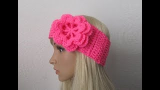 getlinkyoutube.com-How to Crochet Earwarmer/Headband with a Flower Pattern #3│by ThePatterfamily