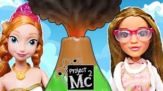 getlinkyoutube.com-Project Mc2 Adrienne Attoms Play Doh Volcano Cake Science Experiment + Frozen Princess Barbie Doll