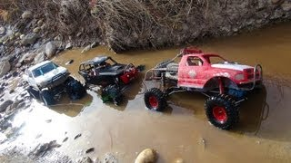 getlinkyoutube.com-RC ADVENTURES - 3 Trail Trucks on a Fun Adventure - Group Trail Run - Scale 4x4 Trucks
