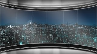 Hd Virtual Tv Studio News Set With City Skyline In The Background. Stock Footage