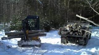getlinkyoutube.com-Mini Excavator loading Logs