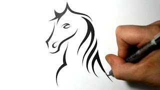 getlinkyoutube.com-How to Draw a Horse Portrait - Tribal Tattoo Design Style