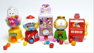 getlinkyoutube.com-Fancy Gumball Machine Collection - Garfield, Dubble Bubble, Love Coin Bank Machine