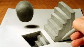 getlinkyoutube.com-Drawing 3D Staircase, Trick Art Draw Levitating Sphere