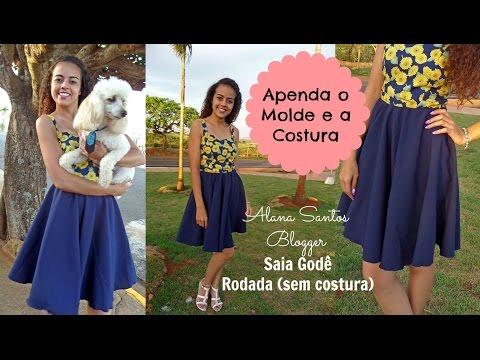 Costura e modelagem saia rodada godê Alana Santos Blogger