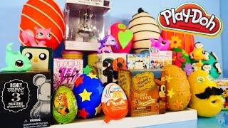 getlinkyoutube.com-Play Doh Eggs Surprise Blind Box Unboxing Toys MLP Disney Vinylmation Kidrobot Playdough Videos
