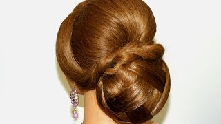 getlinkyoutube.com-Prom wedding hairstyle for long hair. Bun updo.