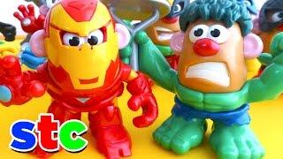 getlinkyoutube.com-Mr Potato Head Los Vengadores Iron Man y Hulk