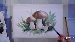 getlinkyoutube.com-27 Ирина Колобова   Урок рисования грибочков акварелью