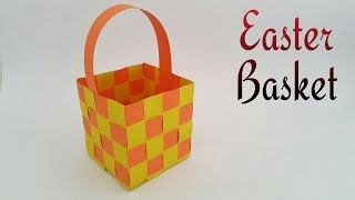 "getlinkyoutube.com-How to make a paper ""Easter Basket"" - Paper Crafts tutorial"