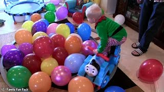 getlinkyoutube.com-Toddler Thomas Train Balloon Stunt