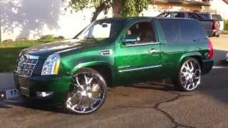 "getlinkyoutube.com-2011 CADILLAC ESCALADE PLATINUM 2 DOOR CANDY GREEN MARBLE ON 28"" INCH LEXANI GO!!! GREEN"