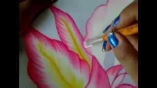 getlinkyoutube.com-Pintura en tela orquídea rosa # 2 con cony