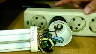 getlinkyoutube.com-Mengganti Kedua Filament Lampu Hemat Energi dengan kumparan ferit
