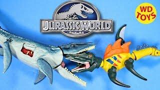 getlinkyoutube.com-New Jurassic World Hero Mashers Spinosaurus (Spino-Mosasaurus)  VS Mosasaurus